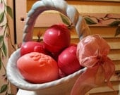 Sweet and Darling - Vintage  Baby Blue Ceramic Basket with Rose Scented Egg Soaps - CHARMING - Credit Cards Accepted