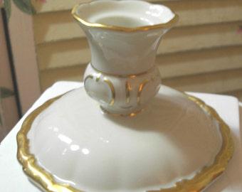 Shabby Cottage and Chic- Vintage Set of 2 Porcelain Taper Candle Holders - Ornate -  Haviland - Bavaria - Germany -1950 era