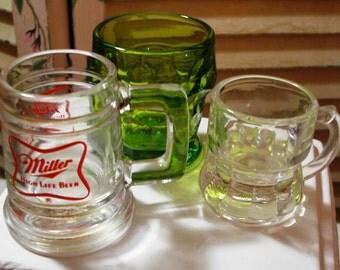 Vintage lot of 3 Shot Glasses - Miller Life - Green Glass - Handles - Bar Accessories - 1960 Era (Credit Cards Accepted)