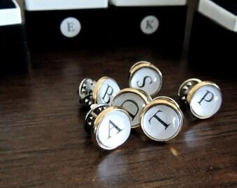 6 Groomsmen Tie Tacks // Typewriter tie tacks // initial tie pins