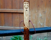 "Carved Walking Stick, Hickory 60"" (13-108)"