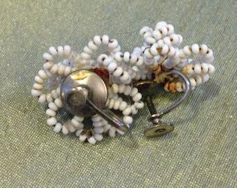 White Beaded Flower Screw Back Earrings