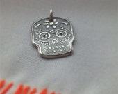 Fine silver sugarskull pendant -custom order