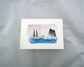 Greeting Card - Blank Inside - Camping in the Mountains and Trees Greeting Card - For Travelers, Journeymen Adventurers Adventure Mountain