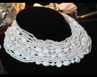 Japan Milk Glass Beaded Necklace, Vintage Couture Bride, Fabulous 27-Strand Cascade, Excellent Condition