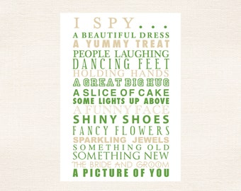 I Spy Cards Children's Activities For Weddings and Parties - Antique Gold and Garden Green