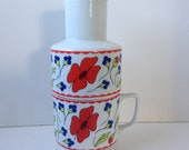 Floral Cup and Pitcher Set, Made in Japan