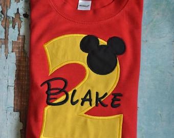 Boys Mickey Mouse Birthday Shirt, Boys Birthday Shirt