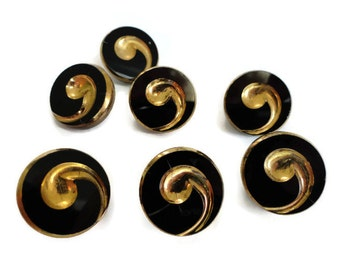 Apostrophe Glass Vintage Buttons - 4 Antique 1930s Black and Gold
