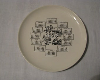 Vintage 1974 Calendar Collectible Plate, 4 Seasons, Cream Color With Black Accents, Great Gift.