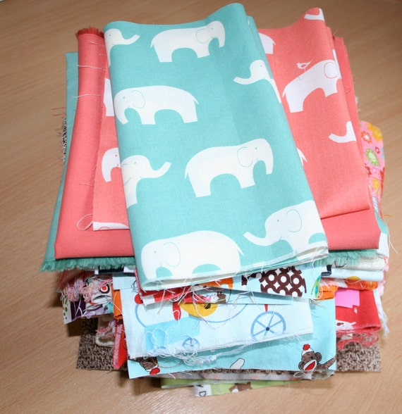 Designer Fabric scrap bundle,  Riley Blake, Fig Tree Quilts, Moda, Robert Kaufman