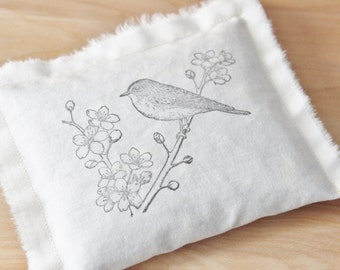 Organic Lavender Jasmine & Rose Scented Sachet, Nature Lover Gift, Bird on Branch, Cherry Blossom Tree