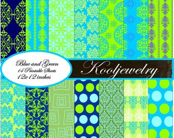 Blue and green Paper Pack No.163