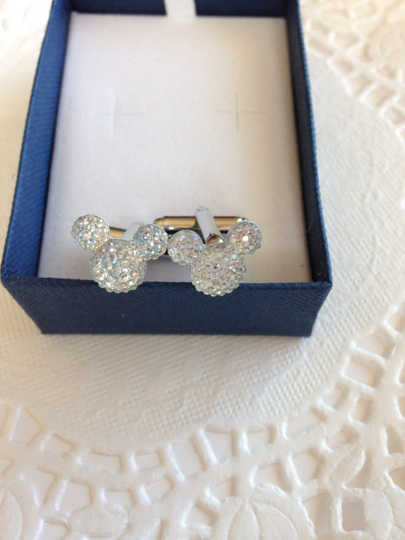 MOUSE EARS Cufflinks for Wedding Party in Dazzling Clear Acrylic FREE Gift Box with Every Order