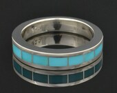 Blue Turquoise Inlay Ring in Sterling Silver by Hileman Silver Jewelry