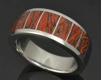 dinosaur bone wedding ring in stainless steel red dinosaur bone ring dinosaur bone wedding - Dinosaur Bone Wedding Ring