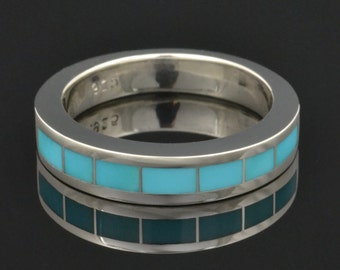 Blue Turquoise Inlay Ring in Sterling Silver by Hileman Silver Jewelry - Turquoise Wedding Band - Turquoise Wedding Ring
