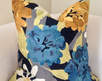 Navy Blue Pillow Cover Throw Pillow Decorative Pillows Floral Pillow Cushion Teal