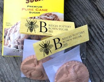 Brown Sugar Bee or Bunny Brown Sugar Keeper - Free Shipping -Handmade Bee or Bunny  Medallion makes rock hard brown sugar soft