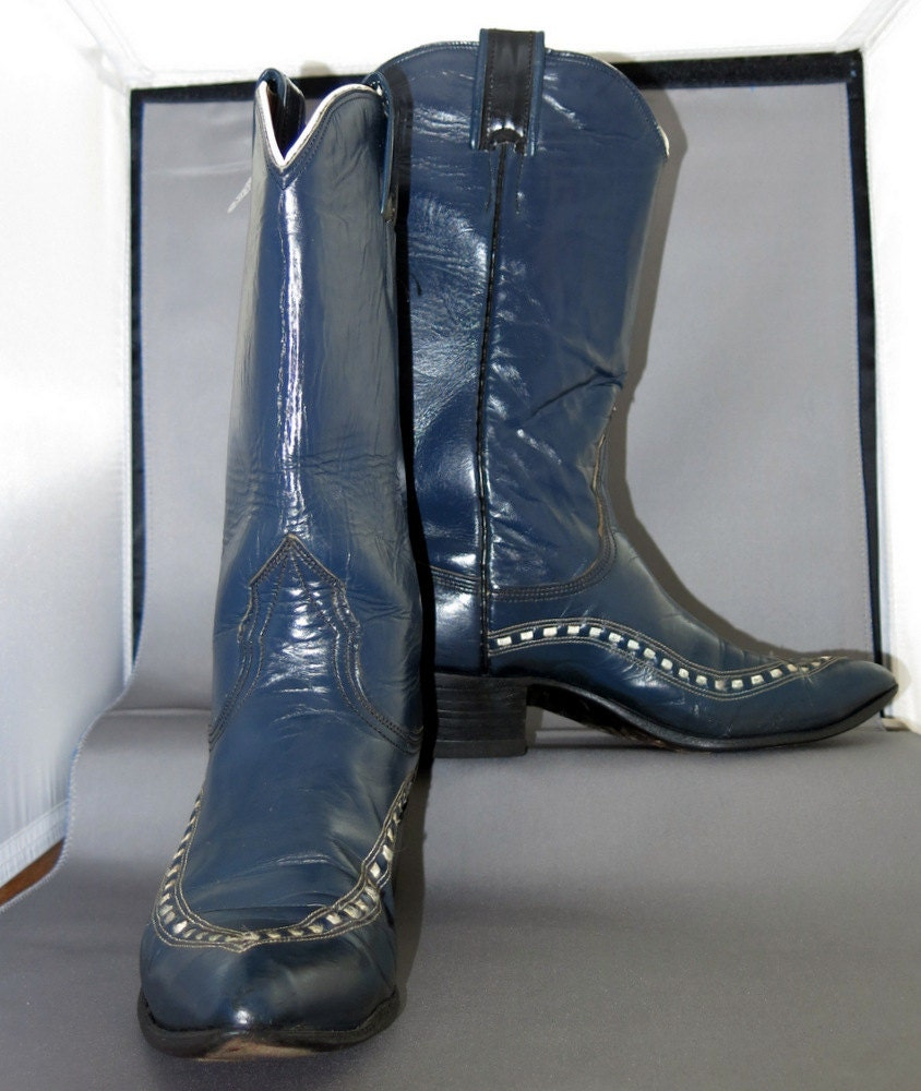 vintage nocona cowboy boots navy blue and white