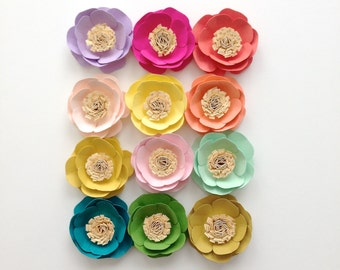 Paper flowers {set of four} you choose colors. Gift toppers, place card setting, wedding decor, wedding cake, birthday decor