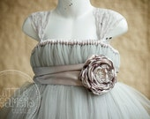 Shabby Chic GREY Flower Girl Dress w/ Lace Cap Sleeves and Flower Sash