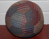 Fabric Soccer Ball- Red Blue & Brown  Plaid Wool
