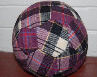 Fabric Soccer Ball- Purple Plaid Wool