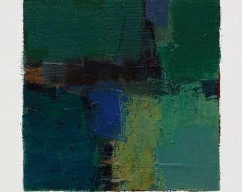 June 27, 2014 - Original Abstract Oil Painting - 9x9 painting (9 x 9 cm - app. 4 x 4 inch) with 8 x 10 inch mat