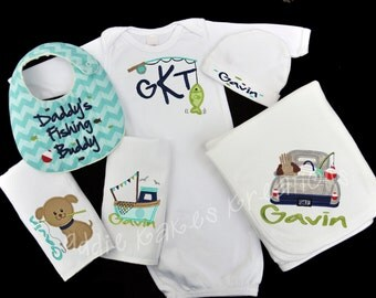 Fishing Baby Clothes / Fishing Gift Set / Baby Boy Clothing / Personalized Gown / Baby Boy Fishing Set / Baby Shower Gift / Fishing Buddy