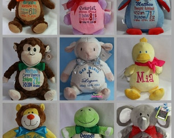 Personalized Baby Gift Cubbies Stuffed Bunny Rabbit, Duck Plush Stuffed Animal Toy