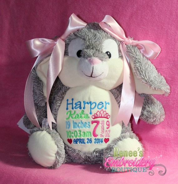 Personalized baby gift bunny rabbit new baby birth like this item negle Images