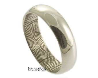 Awesome Traditional Low Dome Personalized Fingerprint Wedding Ring With Interior Wrap Print in Sterling Silver mm
