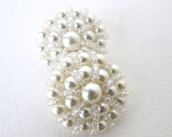 Vintage Button Off White Pearl Seed Beads Bridal Sewing Shank 32mm but0222 (2)