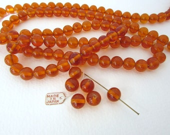 Vintage Japanese Beads Orange Dark Topaz Glass Rounds 9mm vgb0805 (8)