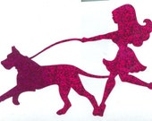 Great Dane and Pin Up Silhouette, Purple Glitter Vinyl Decal