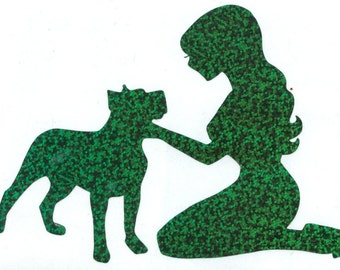 Pitbull and Pin Up Silhouette, Green Glitter Vinyl Decal