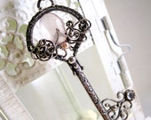 Key Necklace Pearl Rose Quartz Gemstone Sterling Silver Wire Wrapped Key Mori Girl Dolly Kei