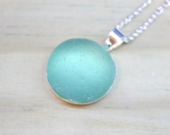 Bridesmaids jewelry idea Recycled Sea Glass Bezel style on a .925 Sterling Silver plated Necklace
