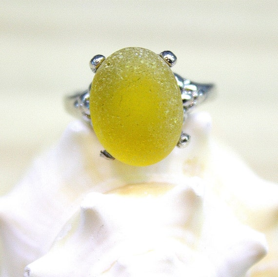 Eco Friendly Yellow Sea Glass Ring Silver Plated Ring Size 7.5 A5