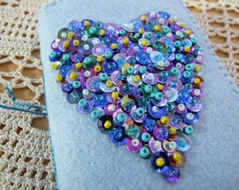 Pale Blue Felt Sequin and Beaded Card Case