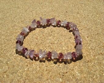 Bracelet Amethyst Lavender Gemstones with Purple Glass Beads on Elastic Cord in 2 Sizes