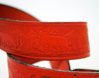 80s Moose Forest Red Leather Wildlife Belt