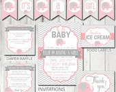 Digital Printable Pink Elephant Baby Shower Party Kit - Shower Games and Decorations PP002