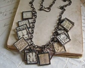 Statement Vintage Lace Necklace Charm Soldered Glass