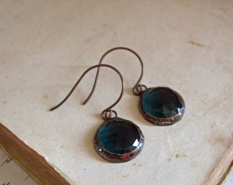 Teal Round Faceted Glass Earrings