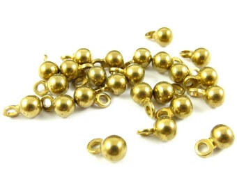 20 - Small Vintage Raw Brass Round Drops - 4mm.