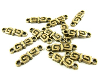 8 - Antique Brass Solid 2 Rings Connectors - 4x13mm