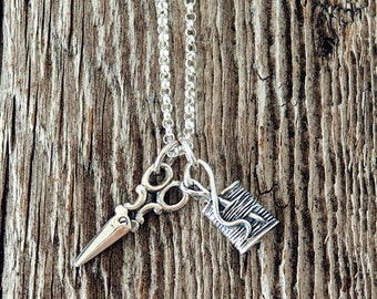 Shears and Spool Charm Necklace, Scissor Charm, Spool of Thread and Needle Charm, Sewer's Jewelry, Quilting Necklace, Sewing Charms