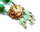 Art Deco Necklace Vintage Jade Green Glass Beaded Butterfly Fringe Antique Jewelry